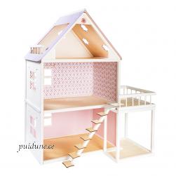 Nukumaja Roosi valge rõduga (kahekorruseline, lilla katusega)