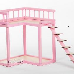 Rõdu nukumajadele Villa Roosi ja kahekorruseline Roosi (roosa)