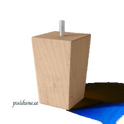 Puidust nelinurksed koonusjalad (kõrgus 12 cm, 4 tk, värvivalikuga)